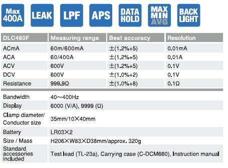 Jual SANWA DLC 460F Multifunctional Io Leakage Clamp Meter